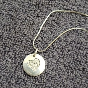 Jewelry - Sterling Silver and Diamond Heart Disc Pendant